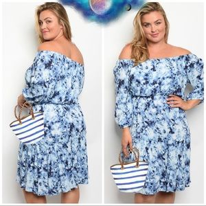 Dresses & Skirts - Blue Tie Dye Plus Size Off Shoulder Midi Dress